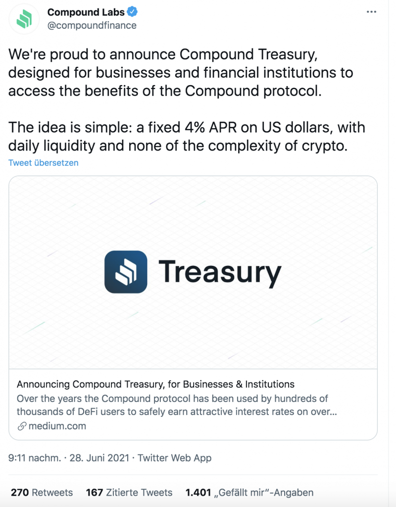 Compound Treasury for Institutions