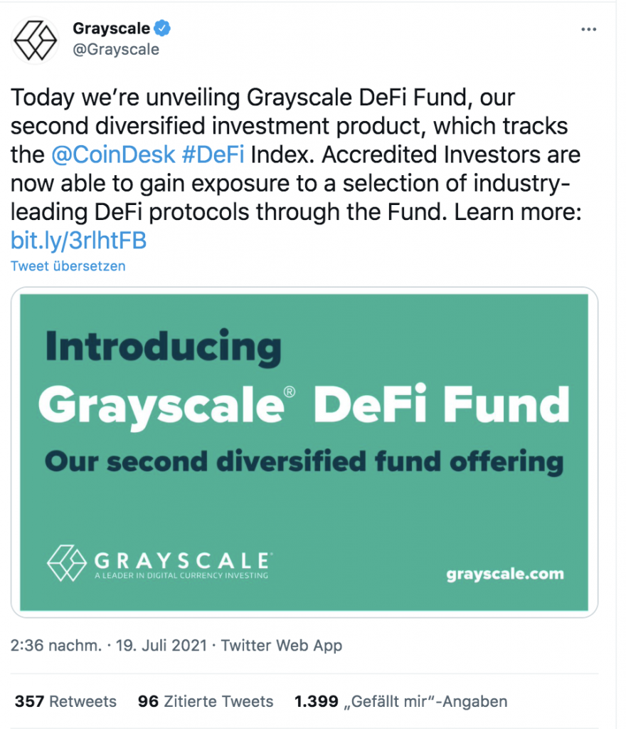 Grayscale Fund annoucement DeFi