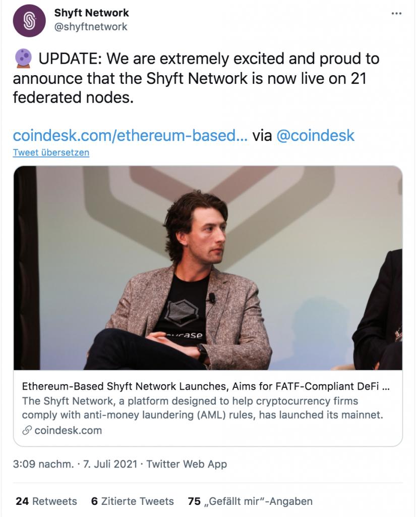 Shyft Network annoucement mainnet launch July 2021